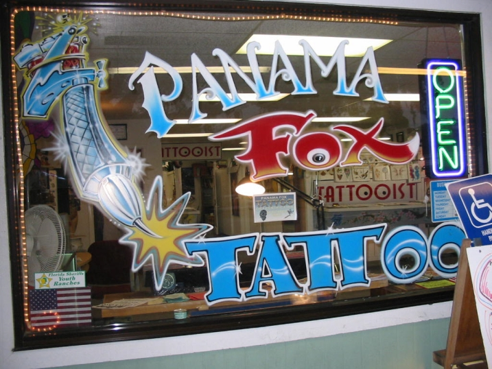 Panama Fox Tattoo is located in Oak Tree Plaza on Highway 98 between the
